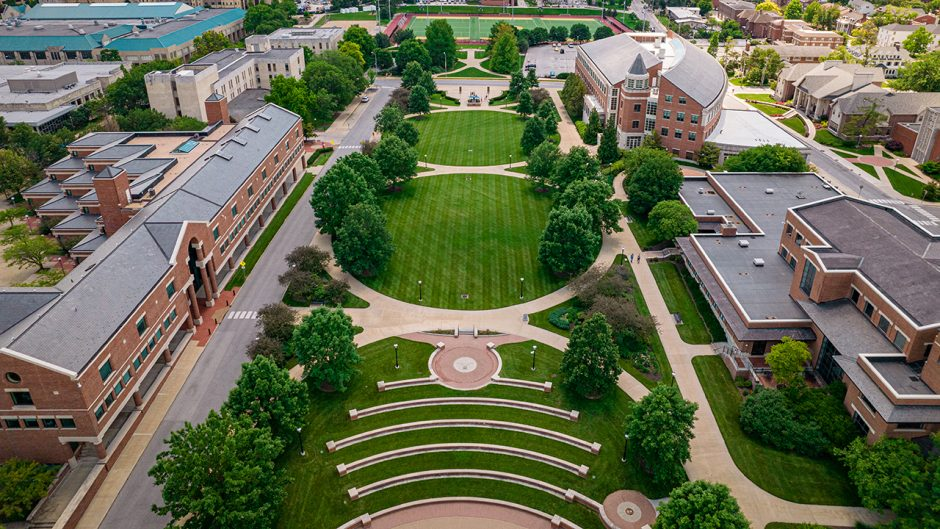 drone shot of traditions plaza and tiger plaza during the summer