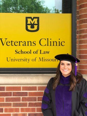 Martha Bradley in front of Veterans Clinic at MU School of Law