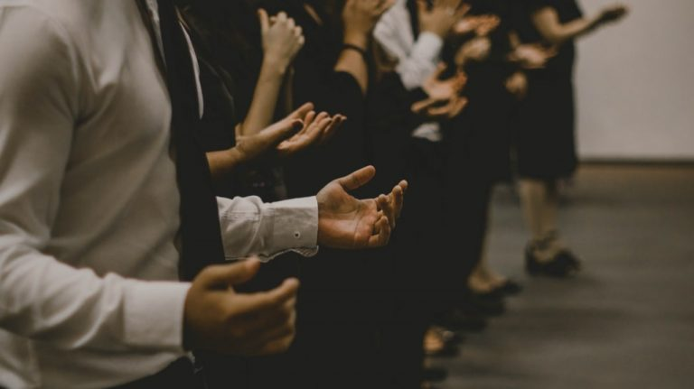 This is a photo of people praying.