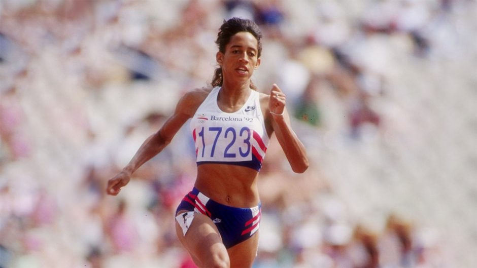 woman running at the Olympics