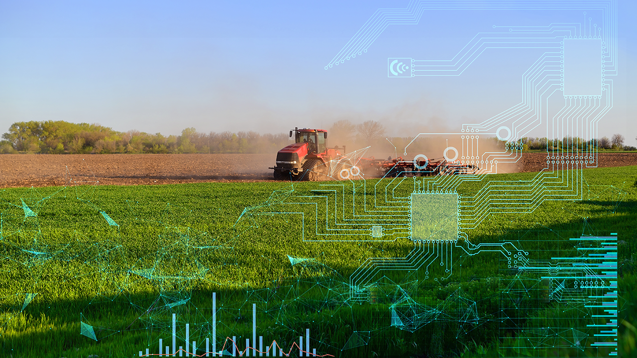 This is a picture of a farm field with a graphic overlay demonstrating AI technology.