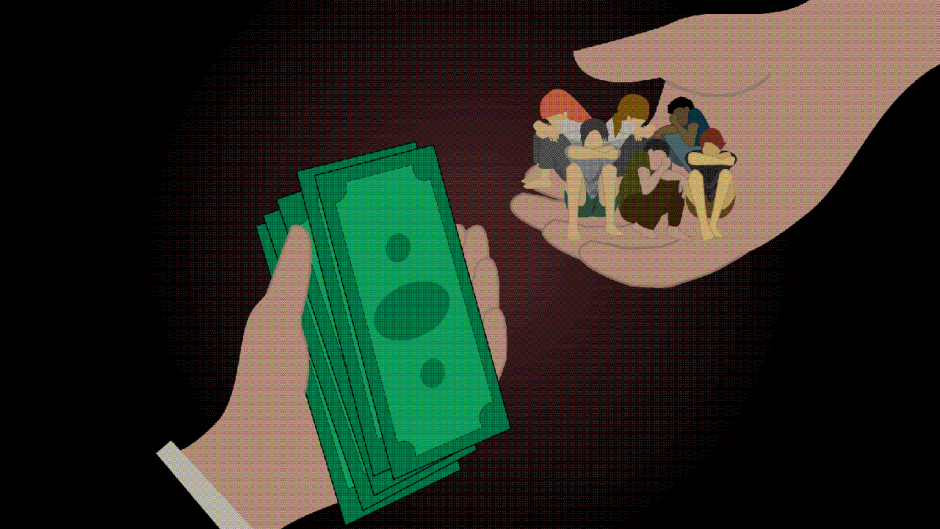 This is an image of someone exchanging money for people.