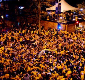 crowd outside downtown bar