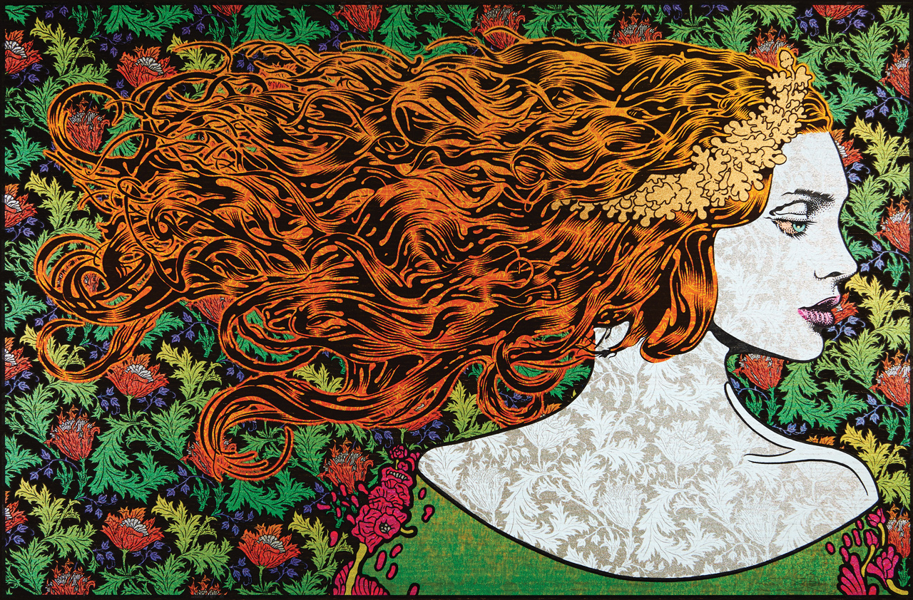 art print of woman with long hair