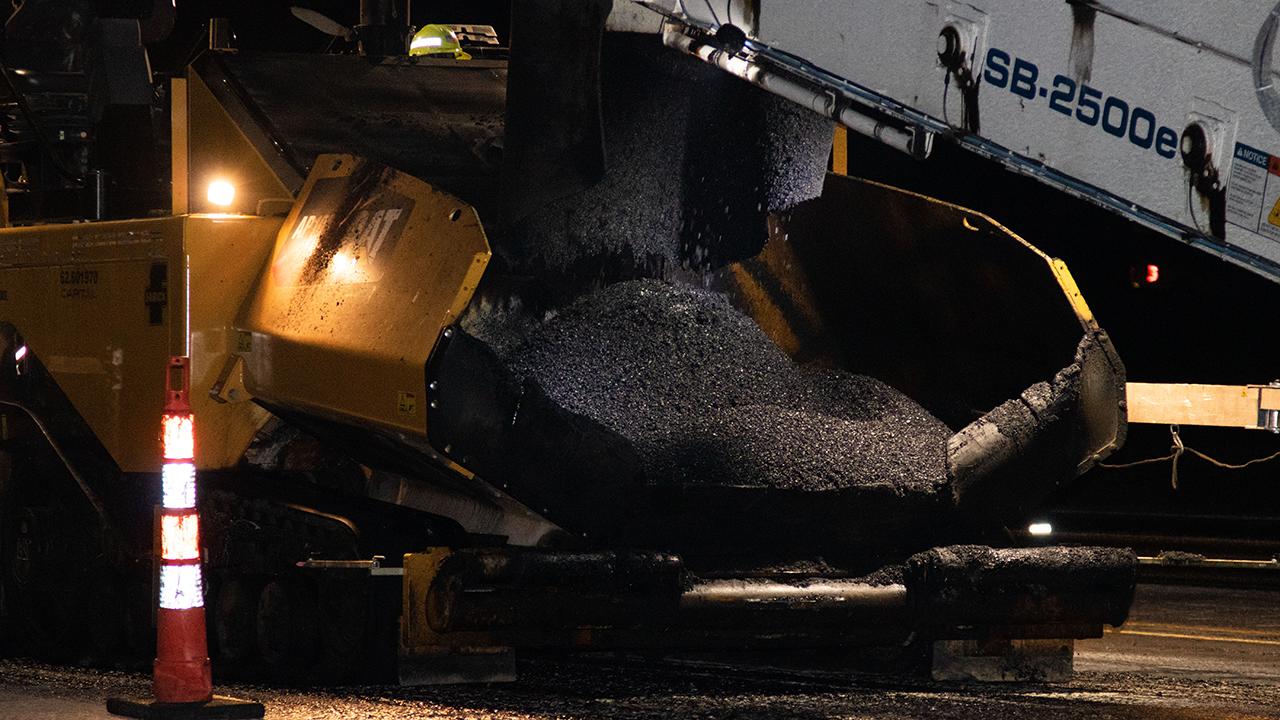 Picture of asphalt paver at work