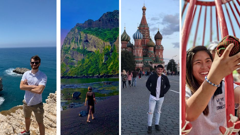 photos of four students studying abroad