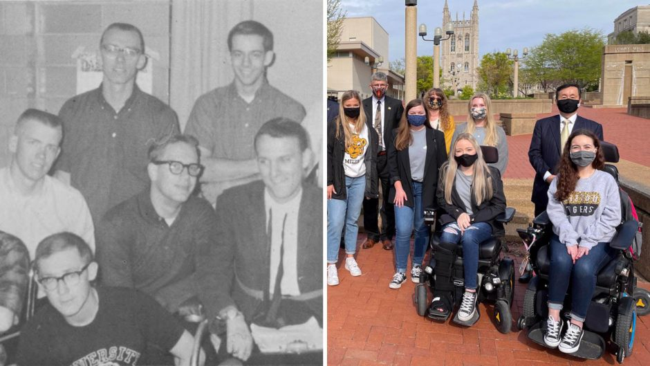 two photos of students put together - one in black and white and one in full color