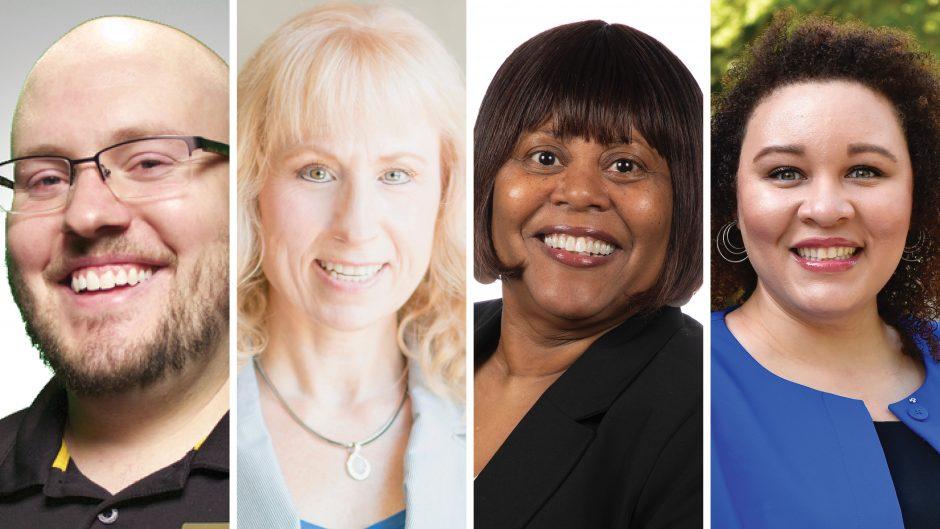 headshots of Mark Johnson, Catherine Peterson, Karen Hayes and Elizabeth Warren