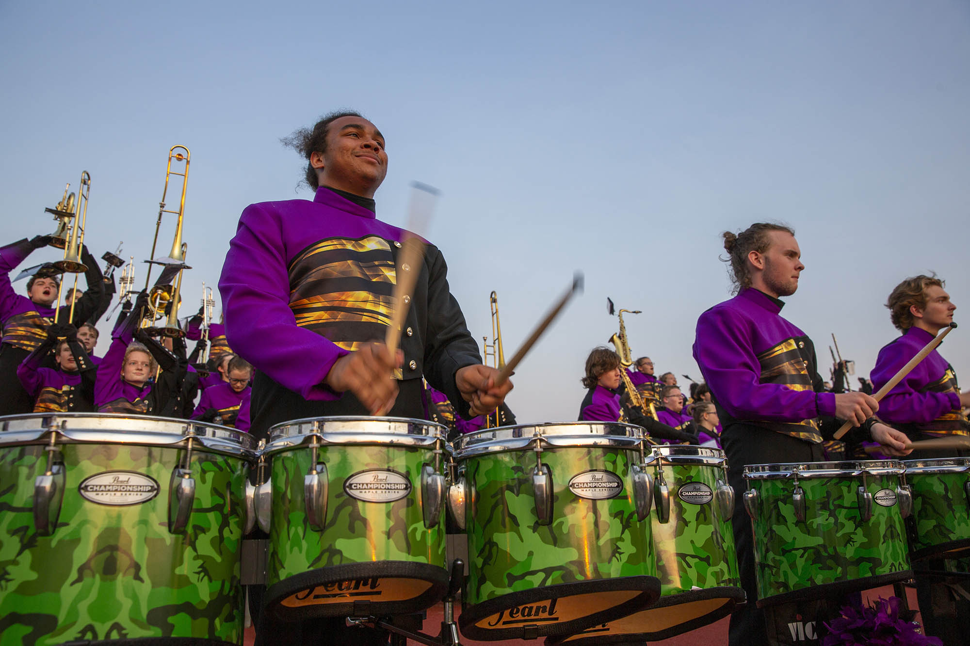 a photo of the hickman drumline playing