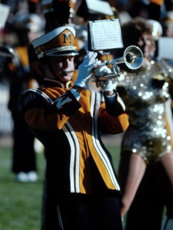 denis swope plays trumpet for marching mizzou
