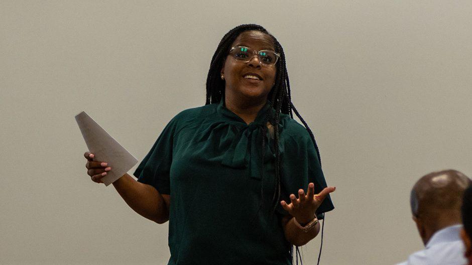 woman presenting