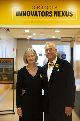 Shelly and Robert Griggs in front of the new Griggs Innovation Nexus.