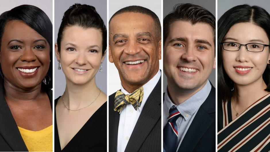 headshots of five faculty