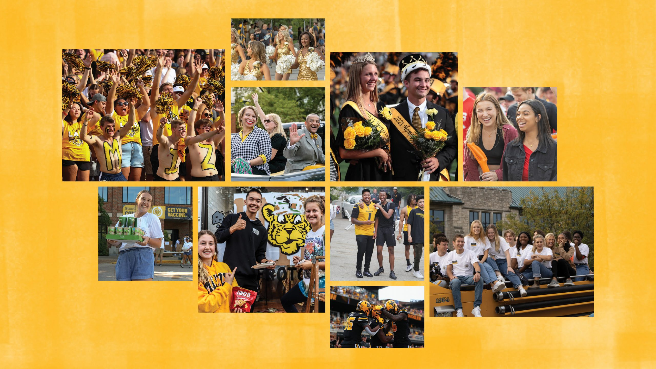 collage of 10 homecoming photos