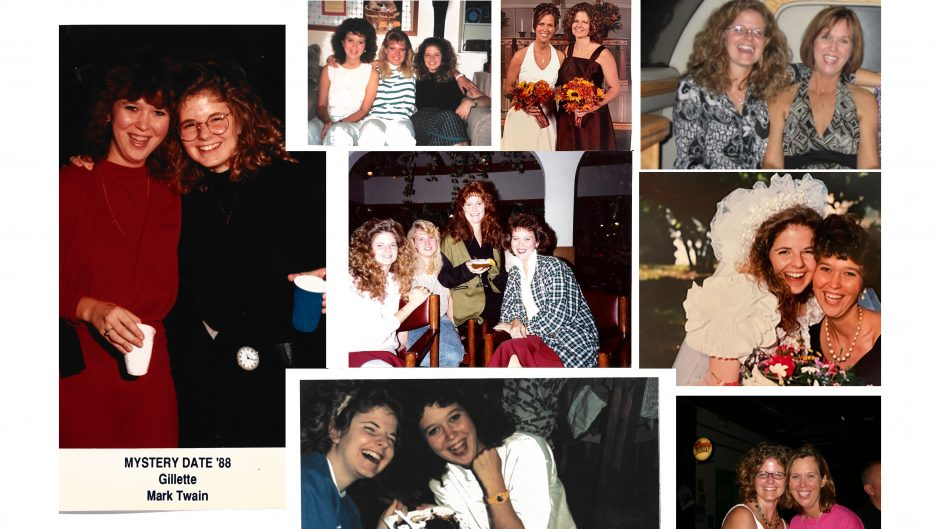 photo collage of multiple photos of two friends over the years