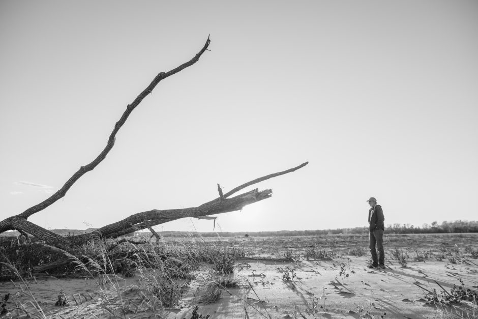"""In Kim's photo story """"After the Rain,"""" Stephen Diederich looks at a fallen tree after flooding on his farmland in Wilton, Missouri on Nov. 2, 2019."""